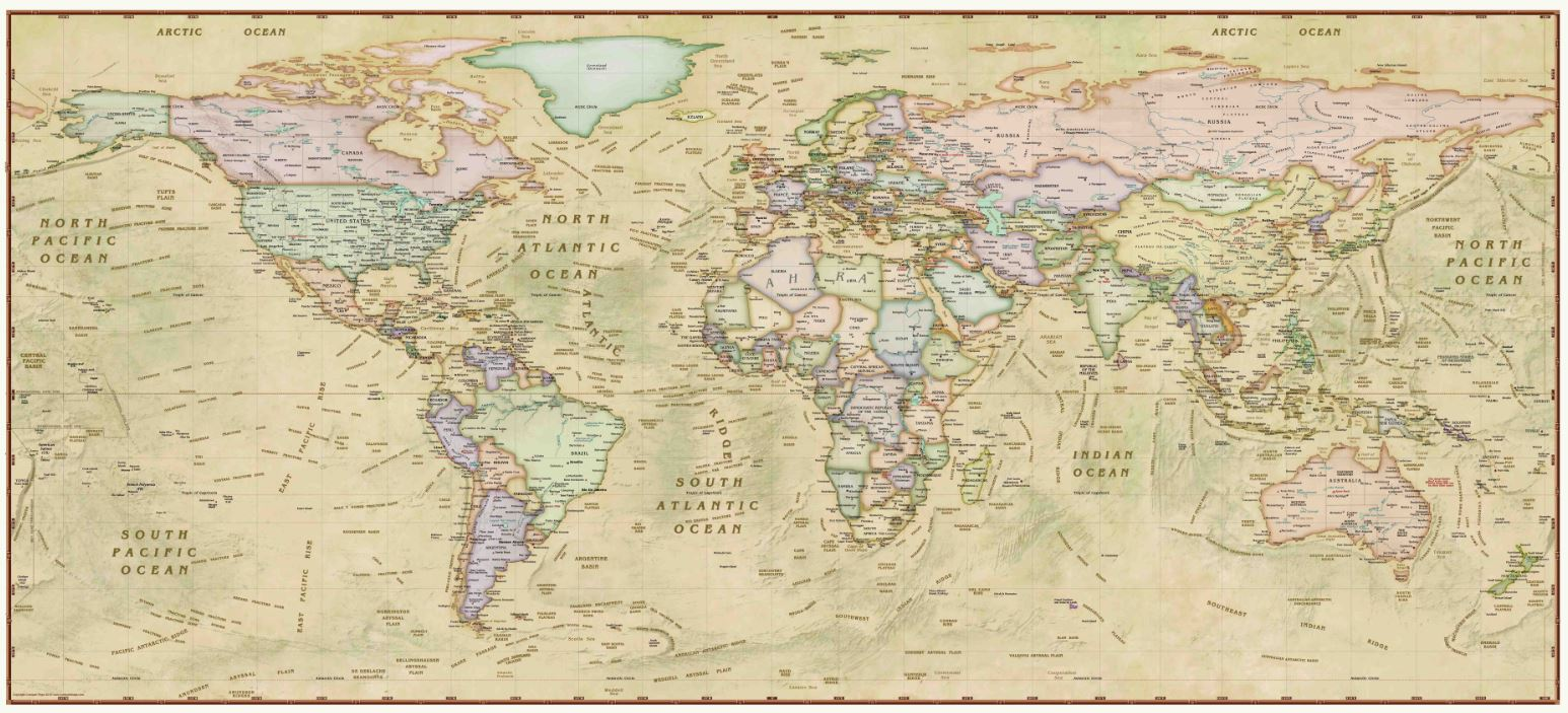 Decorative Antique World Wall Map – Houston Map Company