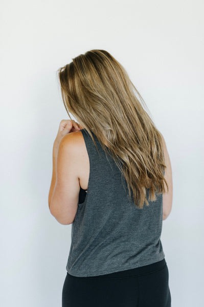 women's flowy crop tank, gray, good vibez