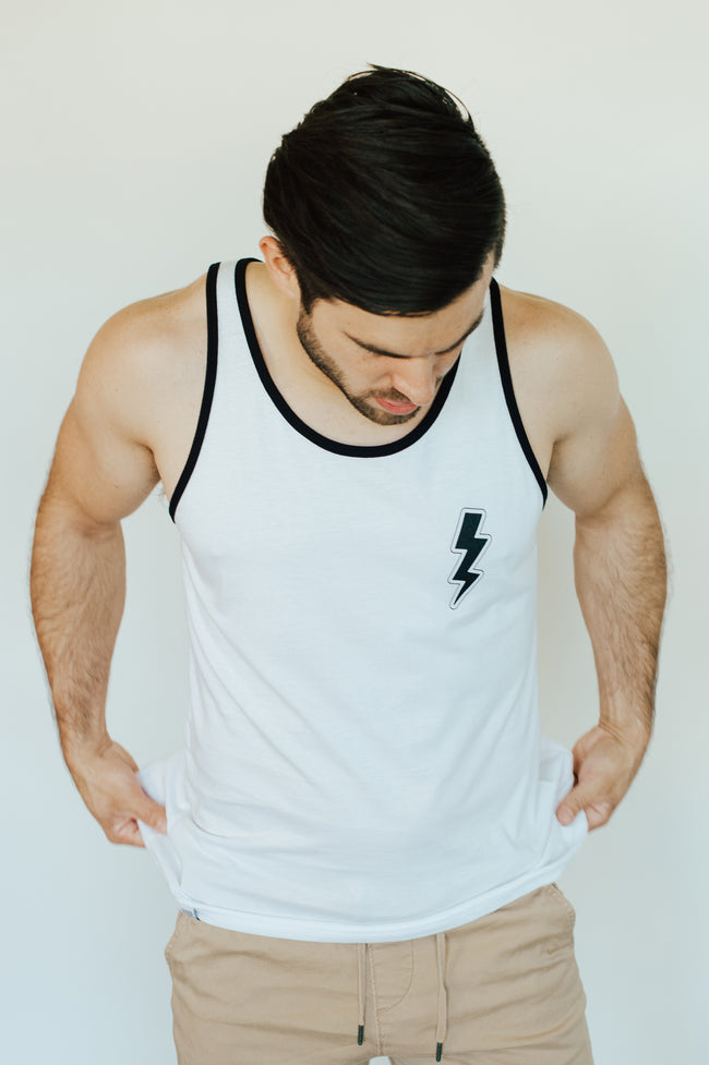 men's jersey tank, white/black, lightning bolt