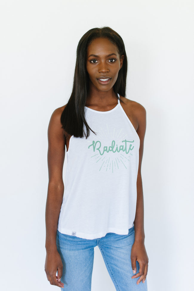 women's flowy high neck tank, white, radiate