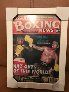 Framed Boxing News Magazine October 1995 - Naz out of this world