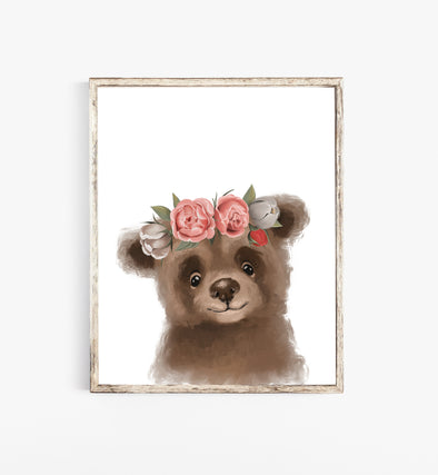 Baby Bear With Flower Crown Print