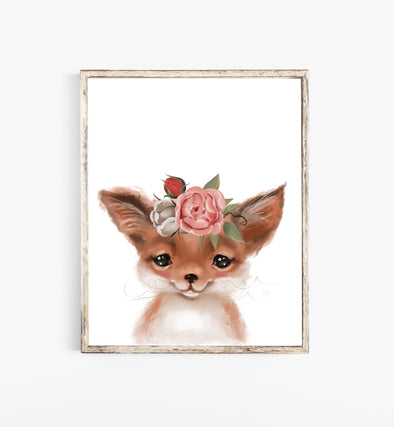 baby fox with flower crown