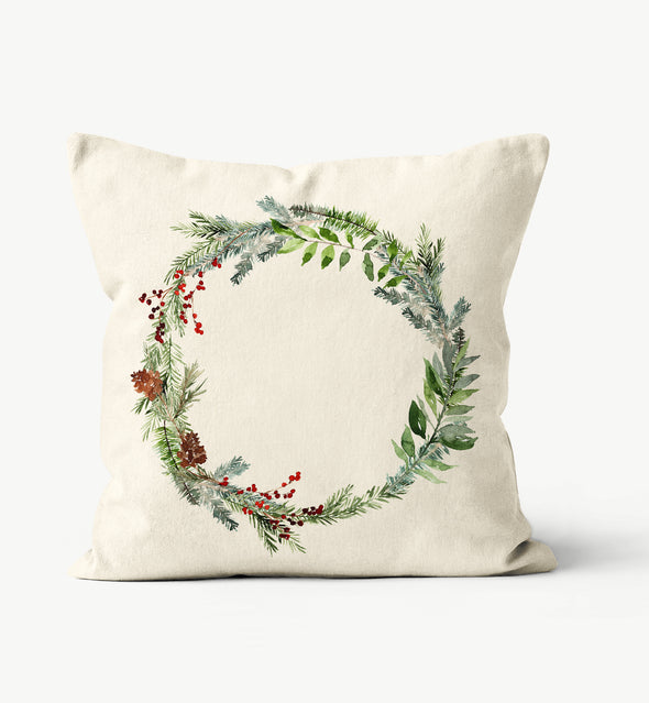 Wreath Christmas Watercolor Pillow