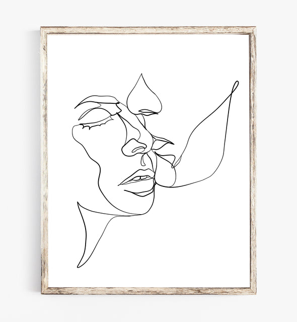 romantic one line art