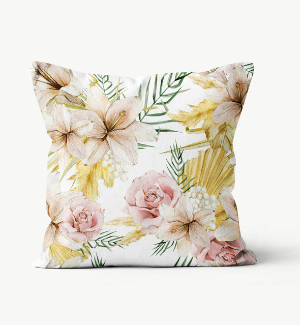 Blush And Beige Floral Pillow