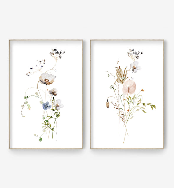 floral wall art set of two prints