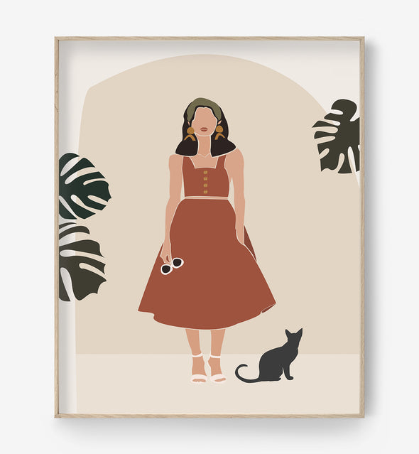 girt and cat art print