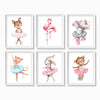 girl nursery animal ballerina prints
