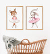 set of two ballerina girl nursery decor