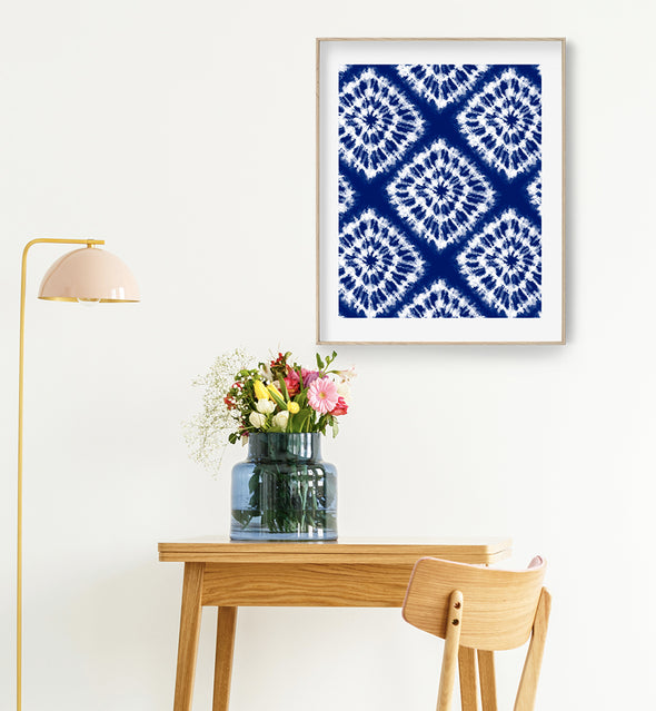 indigo abstract print