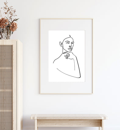 Female Abstract One Line Art Print