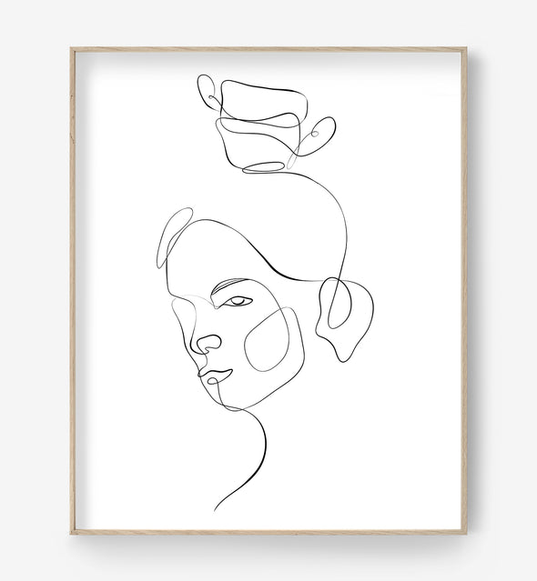 one line female print