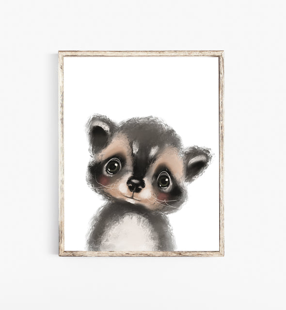 raccoon nursery print