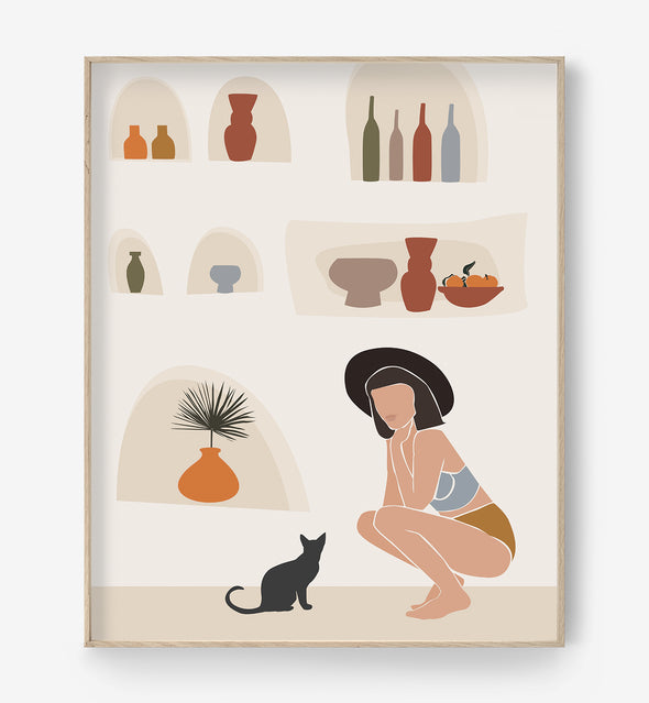 woman and cat painting