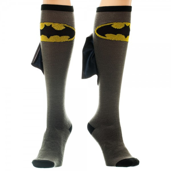Batman Logo Grey/Black Knee High Shiny Cape Socks