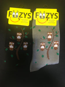 Owl Family Tree Socks