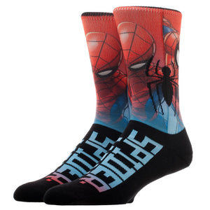 Spiderman Sublimated Over Knit Crew Socks