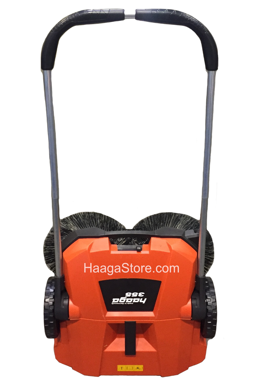 HAAGA 355 Sweeper stands upright for easy storage