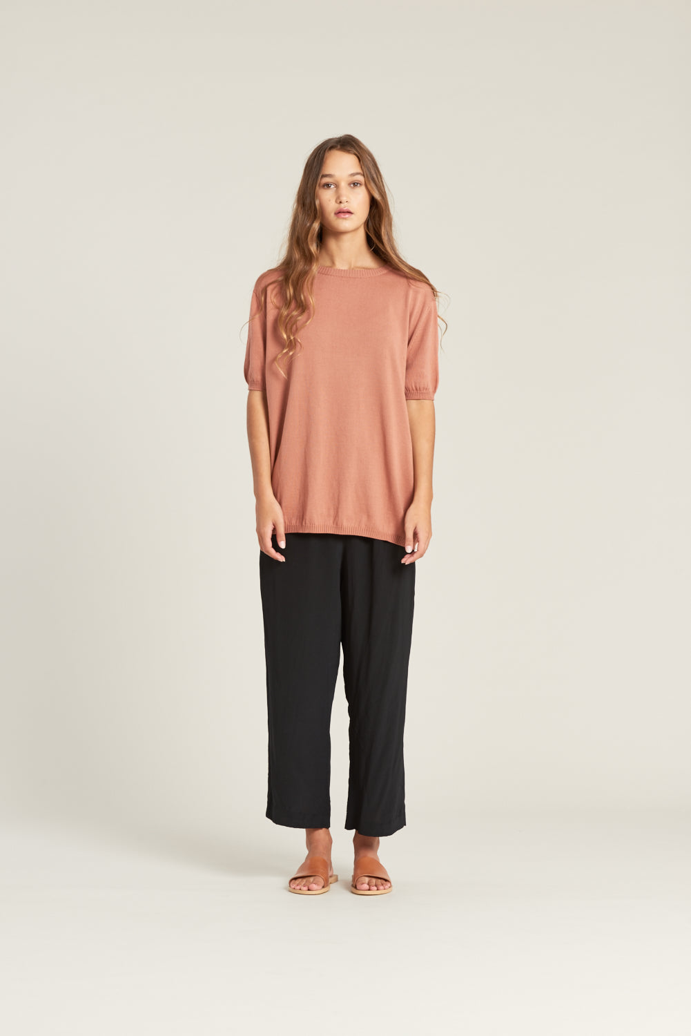 Relaxed fit organic cotton knitted top. Made in New Zealand.