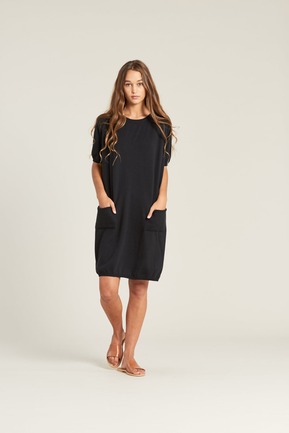 Organic cotton dress with pockets made in New Zealand