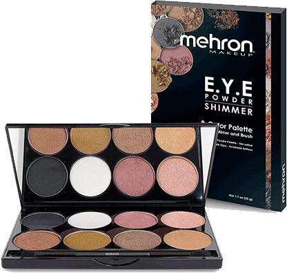 Mehron e.y.e power shimmer palette 8 shades