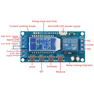 Sintron ST-030 Timer Relay with LCD ST-030 Multi Mode Timer Module to Control Device, Wide Voltage DC Input 6~30V (Micro USB 5V Supported Too), Home & Office Automation, with Tech Support!