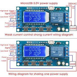 Sintron Timer Relay, Time Delay Relay 5V 12V 24V Delay Controller Board Delay-Off Cycle Timer 0.01s-9999mins Trigger Delay Switching Relay Module with LCD Display Support Micro USB 5V Power Supply - Sintron