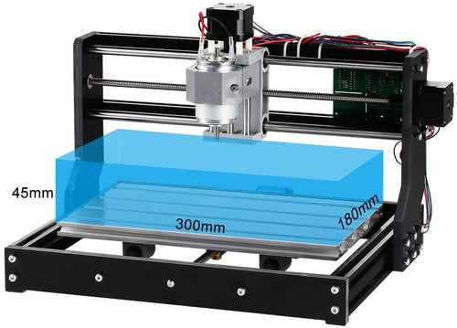 Sintron CNC 3018-PRO Router Kit GRBL Control 3 Axis Plastic Acrylic PCB PVC Wood Carving Milling Engraving Machine, Offline Control Board + ER11 & 5mm Extension Rod, XYZ Working Area 300 x 180 x 45mm