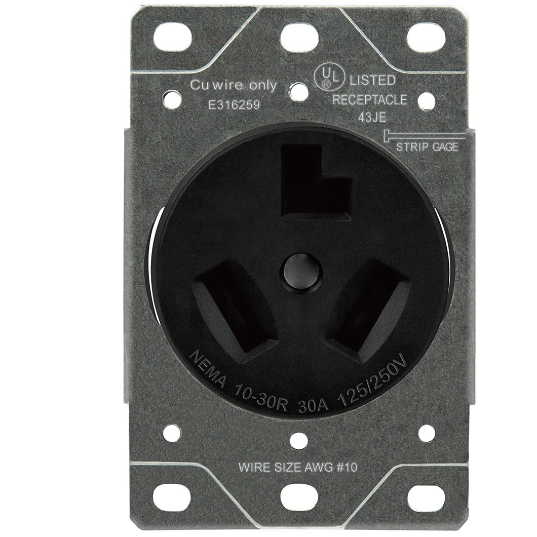 Sintron Heavy Duty Series - NEMA 10-30R Receptacle Outlet, For Clothes Dryer, Kitchen Range & EV Charging, 125/250 Volt 30A Current Rating. UL Listed.