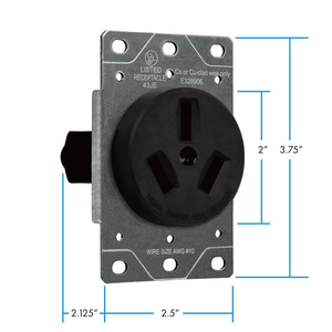 Sintron Heavy Duty Series - NEMA 10-50R Receptacle Outlet, For Clothes Dryers, Kitchen Range & EV Charging, 125/250 Volt 50A Current Rating, UL listed