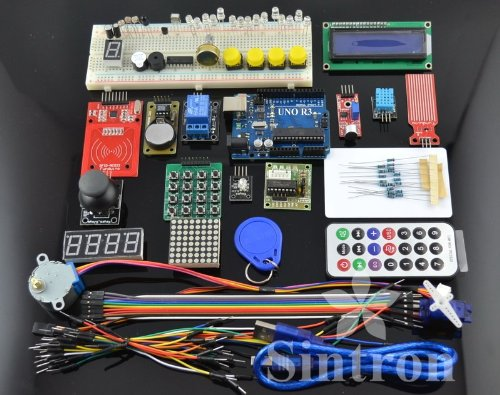 [Sintron] RFID Maste Kit with Motor Servo, LCD, Various Sensors for Arduino  IDE AVR MCU Learner