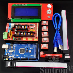 [Sintron] 3D Printer Controller Kit RAMPS 1.4 + Mega 2560 R3 + 5pcs A4988 Stepper Motor Driver with Heatsink + LCD 2004 Smart Display Controller with Adapter For Arduino RepRap - Sintron