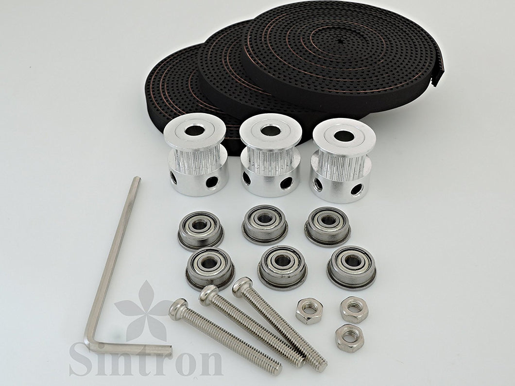[Sintron] 6X F623ZZ Flange Metal Double Shielded Ball Bearing + 3X 2M Timing Belt + 3X GT2 20 Tooth Pulleys for RepRap Delta Rostock Kossel Mini 3D Printer - Sintron