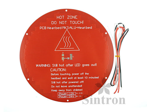 [Sintron] 3D Printer Heatbed Round 3mm Aluminum MK3 Heated Bed for RepRap Rostock Delta Kossel Mini with Thermistor & Wire - Sintron
