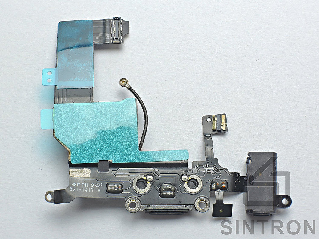 Sintron iPhone 5/5C/5S/6/6Plus/6S/6SPlus Charging Port - Replacement Repair Part for iPhone Black Dock Connector Charging Port Headphone Jack Ribbon Flex Cable Assembly - Sintron