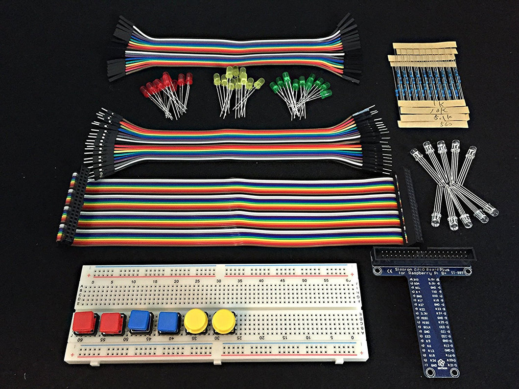 [Sintron] New 40-Pin GPIO Extension Board Starter Kit with RGB LED Switch Push Button 830 Points Breadboard for Raspberry Pi 1 Models A+ and B+, Pi 2 Model B, Pi 3 Model B and Pi Zero - Sintron
