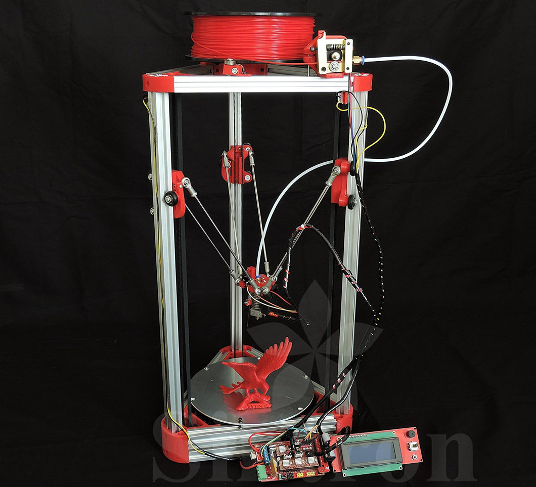 [Sintron] Ultimate 3D Printer Kossel Mini Full Complete Kit with Auto level + Bowden hotend + MK8 Extruder + RAMPS 1.4 + LCD2004 + MEGA 2560 + A4988 + NEMA 17 Motor + Endstop + Round Aluminum MK3 Heatbed + Filament for RepRap Rostock Delta - Sintron
