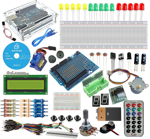 Sintron Arduino Uno R3 Starter Kit - Tutorial CD + Transparent Acrylic Case LCD Servo Motor Sensor Module etc, for Arduino Beginner Learner - Sintron