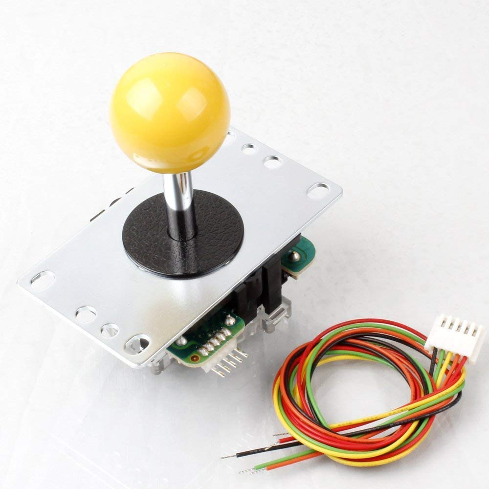 SANWA DENSHI JLF-TP-8YT-SK Yellow Ball Top Handle Arcade Joystick 4 & 8 Way Adjustable, Hori Fight Stick Replacement Cable Parts (Mad Catz SF4 Tournament Joystick Compatible) - Sintron