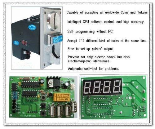 [Sintron] Multi Coin Acceptor CH-923~926 and USB Timer Control Board, (accept 6 kinds of coins)