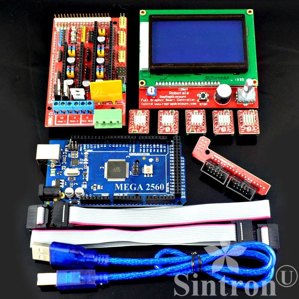 [Sintron] 3D Printer Controller Kit RAMPS 1.4 + Mega 2560 R3 + 5pcs A4988 Stepper Motor Driver with Heatsink + LCD 12864 Graphic Smart Display Controller with Adapter For Arduino RepRap (3D-Kit-12864) - Sintron