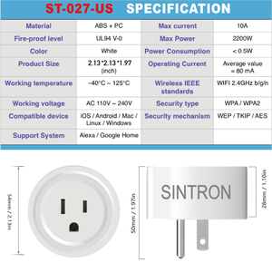 Sintron ST-027 US Smart Plug Socket - Works with iPhone Siri Amazon Alexa Google Home Google Assistant , no Hub required , Energy Saving A+++, compatible with Smart Phone/PC/Mac/Linux/Windows/iOS/Android - Sintron