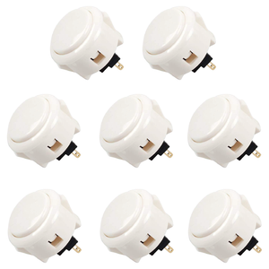 Sanwa 8 pcs OBSF-30(White) OEM Arcade Push Button (Mad Catz SF4 Tournament Joystick Compatible) - Sintron