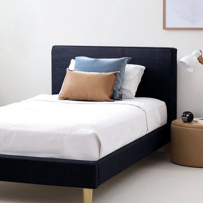 FLYNN Single Upholstered Bed Graphite - Linen Fabric