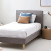 FLYNN Single Upholstered Bed Storm Grey - Linen Fabric