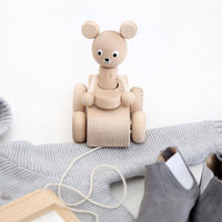 Wooden Pull Along Bear In Car - Teddy by Miva Vacov