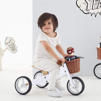 2 in 1 Toddler Mini-Trike w/ Wicker Basket White