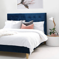 BLAKELY Double Upholstered Bed French Navy