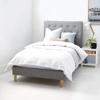BLAKELY King Single Upholstered Bed Storm Grey - Linen Fabric